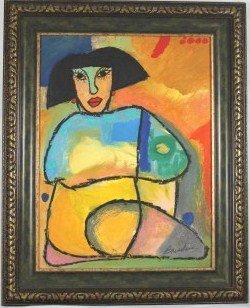 Original Oil  By Juan C. Breceda- Woman Close-Up