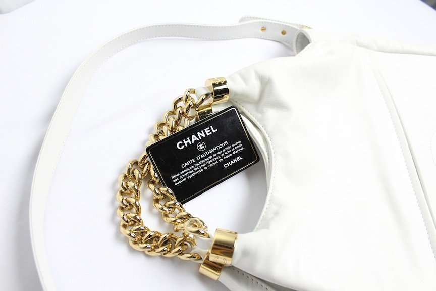 Vintage Chanel Hobo Purse With Metal Straps w/COA