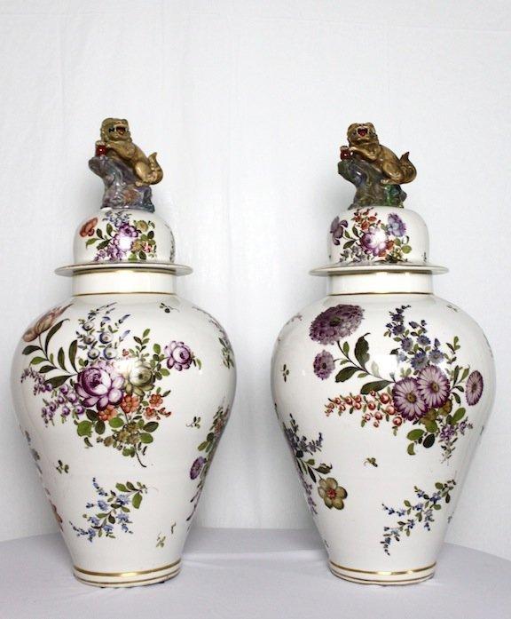 Hand Painted Ca 1900s Lidded Ginger Jars w/ Fu Dog