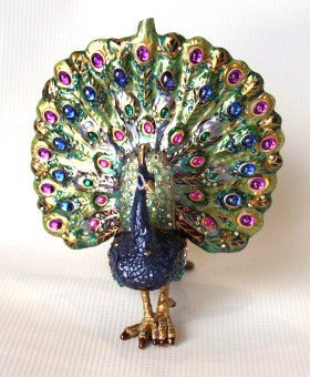 Jay Strongwater Crystal Ornament- Peacock
