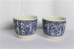 Pair of Delft Porcelain Blue Bowls