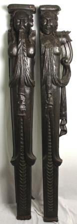 17th Century Pair of Element Oak Carved Caryatids