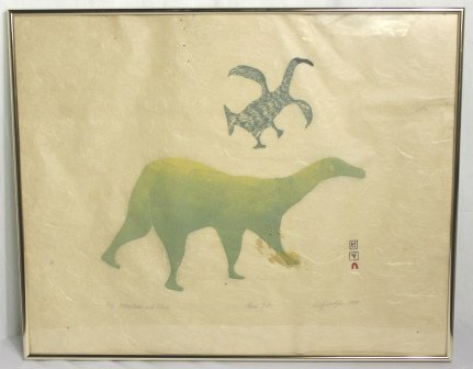 Eskimo Stone Cut Print Bird and Polar Bear 1964