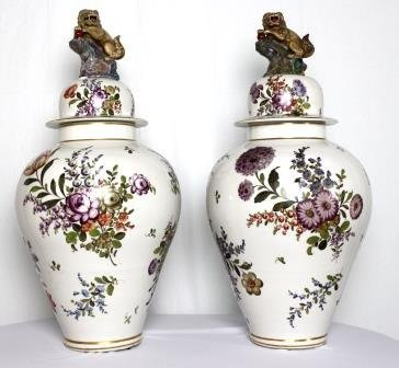 Hand Painted Ca 1900s Lidded Ginger Jars w/ Fu Dog