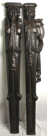 17th Century Pair of Element Oak Carved Caryatids