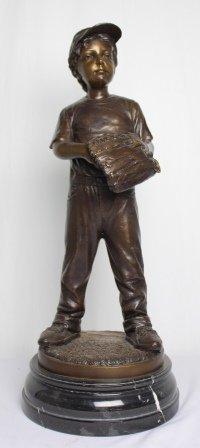 Bronze Baseball Boy Scultpure
