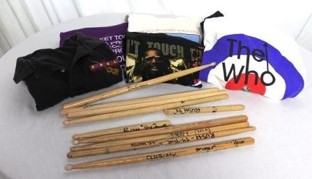 Lot of Signed Band Drum Sticks and Band Crew Shirts