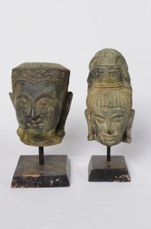 Pair Of Asian Bronze Heads On Stands