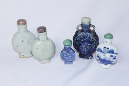 Set of Five Chinese Blue & White Snuff Bottles