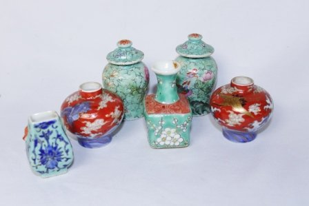 Set of Six Chinese Hand-Painted Snuff Pots
