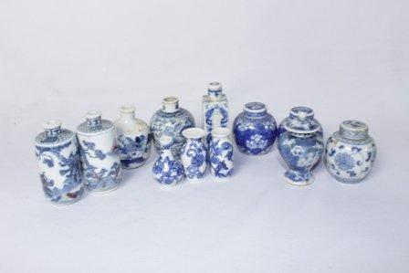 Set of Twelve Chinese Blue & White Snuff Bottles