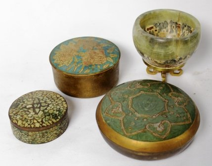 Set of Three Cloisonne Dishes and Bowl from France