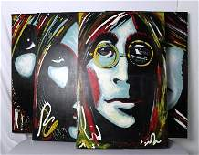 Set of Four Beatles Pop Art Original Art by Hudson