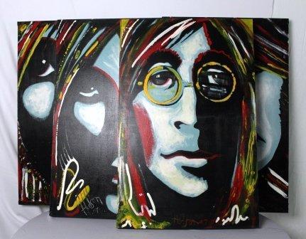 Set of Four Beatles Pop Art Original Art by Hudson