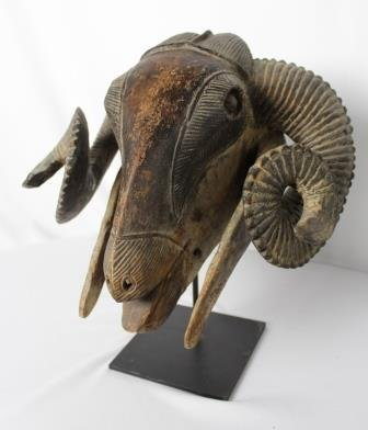 African Ram's Head Sculpture on Stand