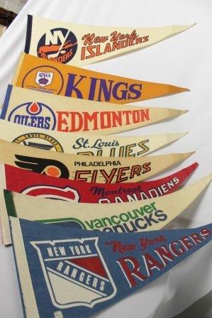 Lot Of 8 Vintage NHL Pennants 1970's