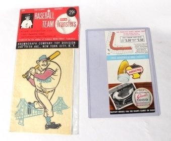 Lot of 1959 San Fransisco Giants Pocket Schedule and Gi