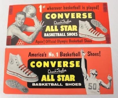 Pair Of Vintage 1950's Chuck Taylor Converse Ad Signs