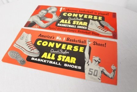 Pair Of Vintage 1950's Chuck Taylor Converse Ad Signs - 2