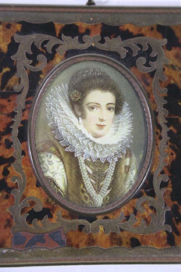 FRENCH ANTIQUE BOULLE FRAMED HAND PAINTED PORTRAIT