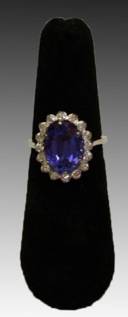 18K TANZANITE & DIAMOND CORONET RING