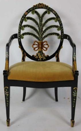 ADAMS STYLE CHELSEA HAND PAINT DECORATED ARMCHAIR