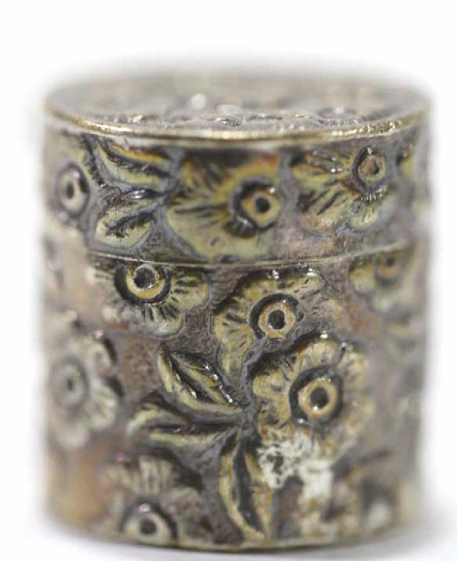 CHINESE ANTIQUE STERLING SILVER CHASED PILL BOX