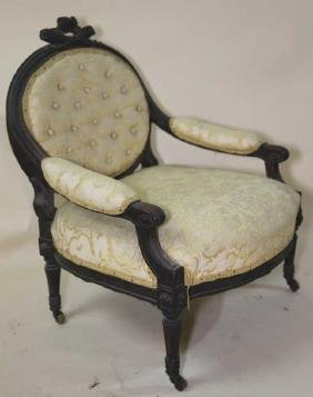 FRENCH ANTIQUE HAND CARVED SLIPPER ARM CHAIR