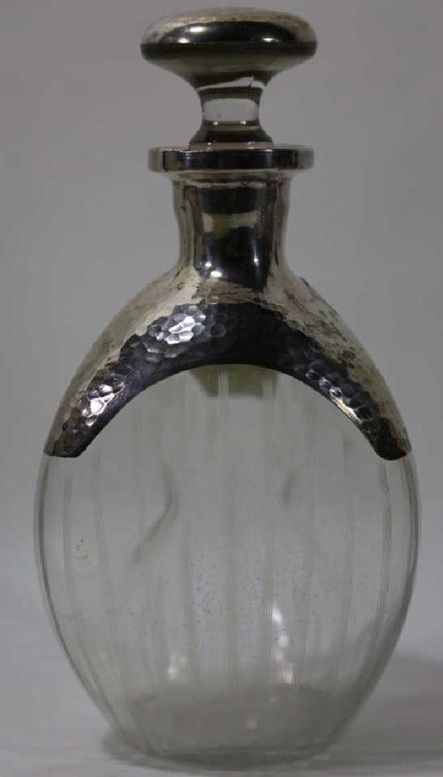 STERLING SILVER HAND HAMMERED DECANTER