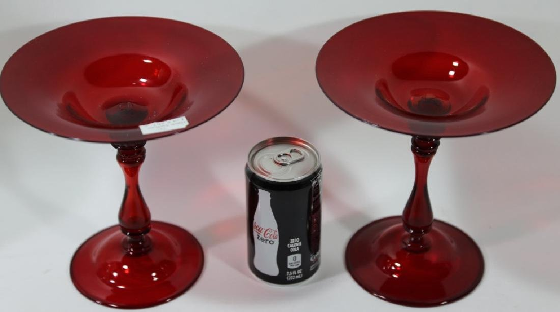 ANTIQUE RUBY RED LARGE GLASS COMPOTES - 4