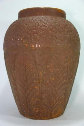 ROOSVILLE OHIO RARE PALATIAL MOLDED POTTERY VASE