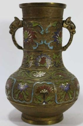 CHINESE CHAMPLEVE CLOISONNE TWIN HANDLED POT