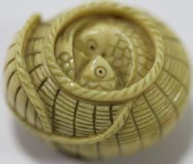 JAPANESE VERY FINE HAND CARVED & SIGNED NETSUKE