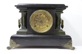 ANTIQUE FAUX MARBLE FRENCH MANTLE CLOCK