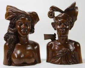 CARVED FEMALE BUSTS