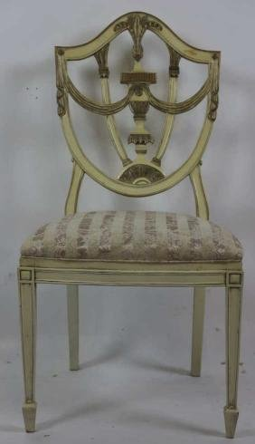 ANTIQUE PAINT DECORATED SHIELD BACK SIDE CHAIR