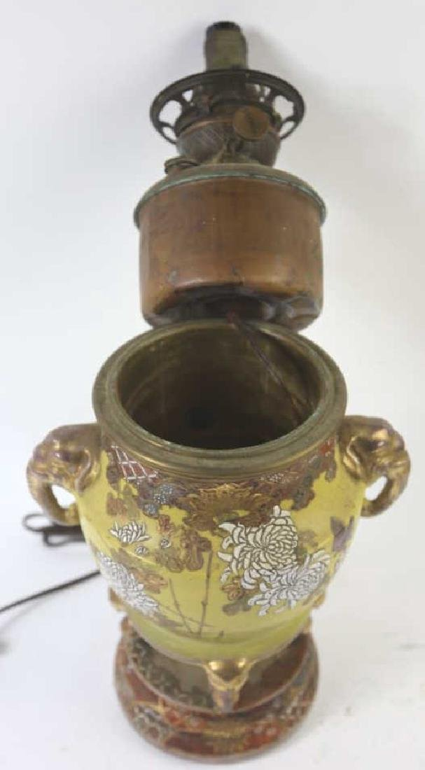CHINESE ANTIQUE ELEPHANT HANDLE OIL LAMP - 2