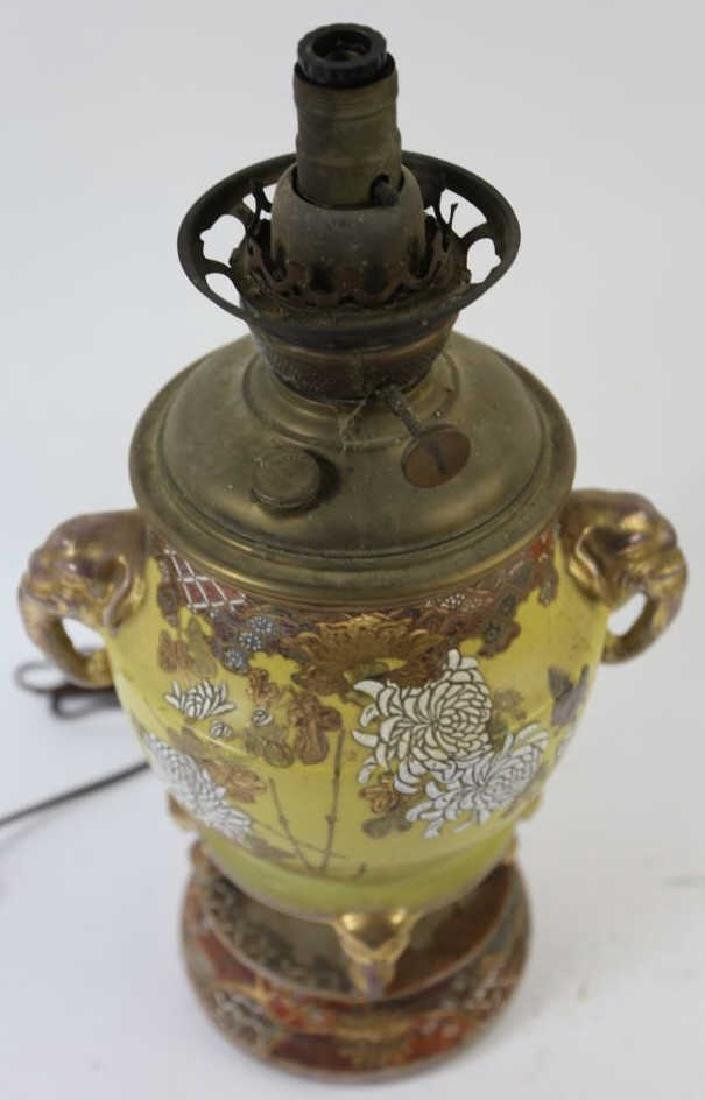CHINESE ANTIQUE ELEPHANT HANDLE OIL LAMP - 4