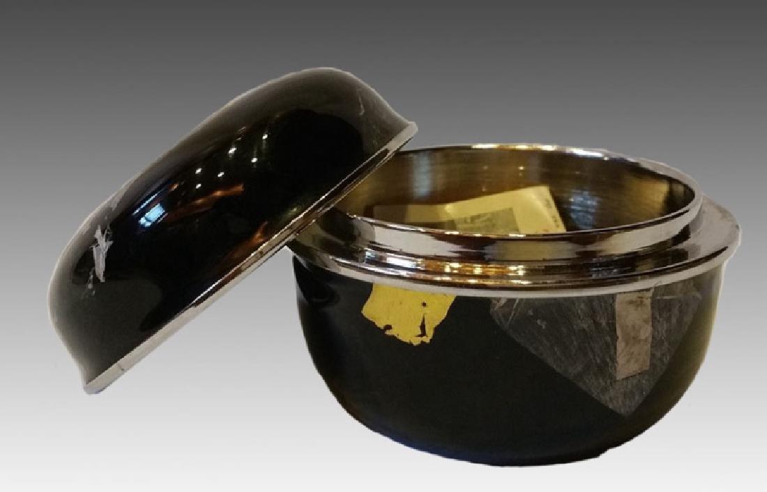 JAPANESE ENAMEL W/ GOLD & SILVER LEAF TEA  CADDY - 3