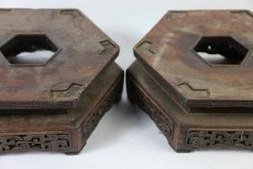 CHINESE ANTIQUE HAND CARVED OCTAGON STANDS