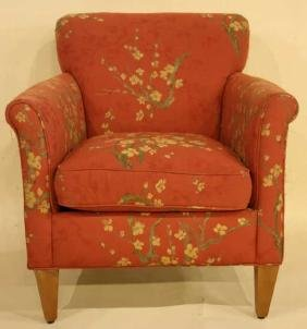 CUSTOM FLORAL UPHOLSTERED CLUB CHAIR