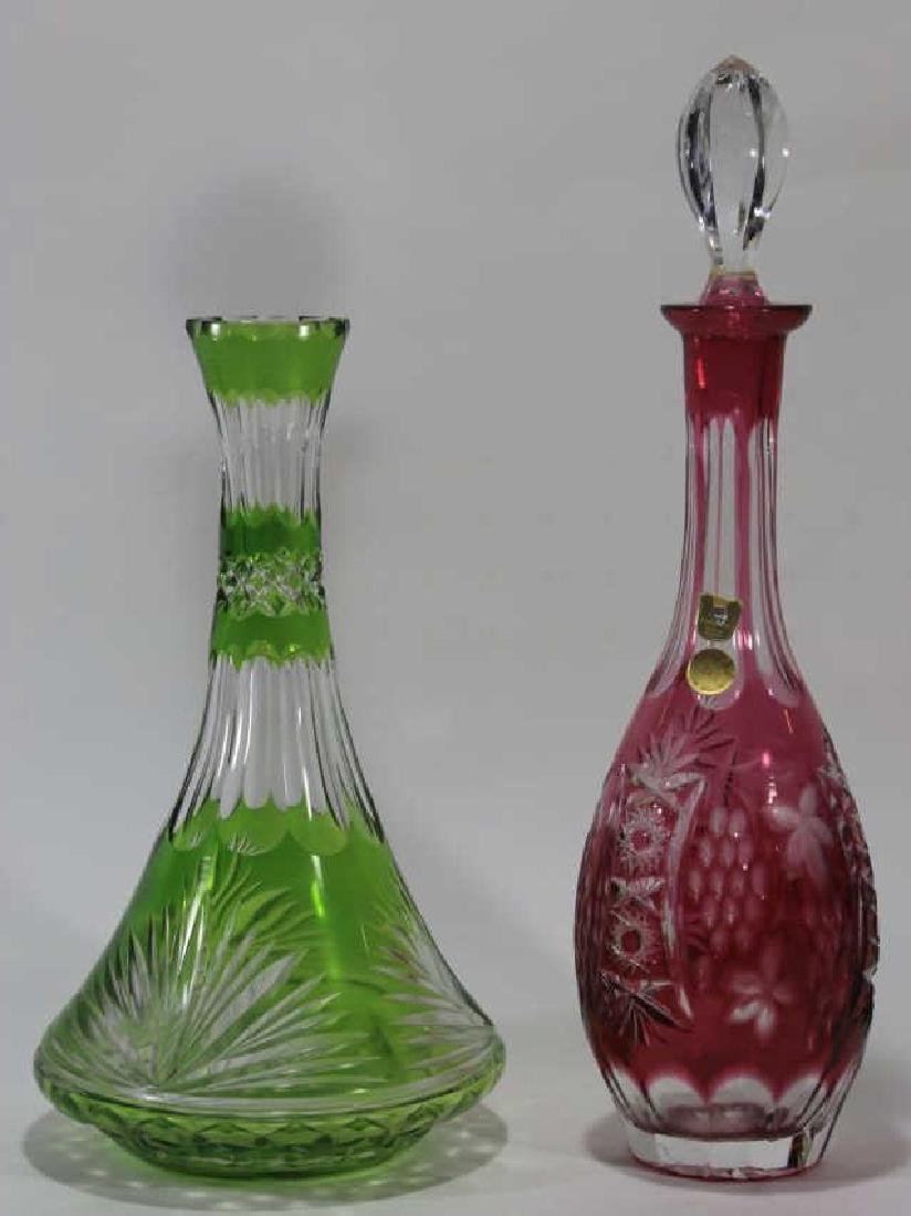 VINTAGE BOHEMIAN GLASS WINE CARAF & DECANTER