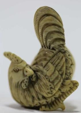 JAPENESE ANTIQUE TEA STAINED CARVED COCK NETSUKE