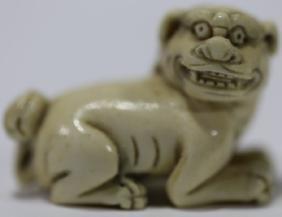 JAPANESE FOO DOG HAND CARVED NETSUKE