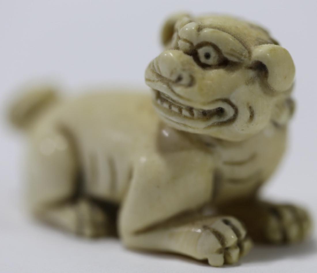 JAPANESE FOO DOG HAND CARVED NETSUKE - 2