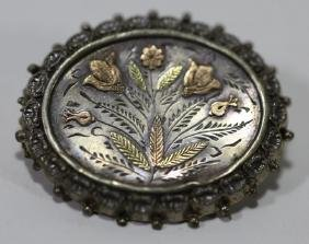 STERLING SILVER/ GOLD VINTAGE MIXED METAL PIN