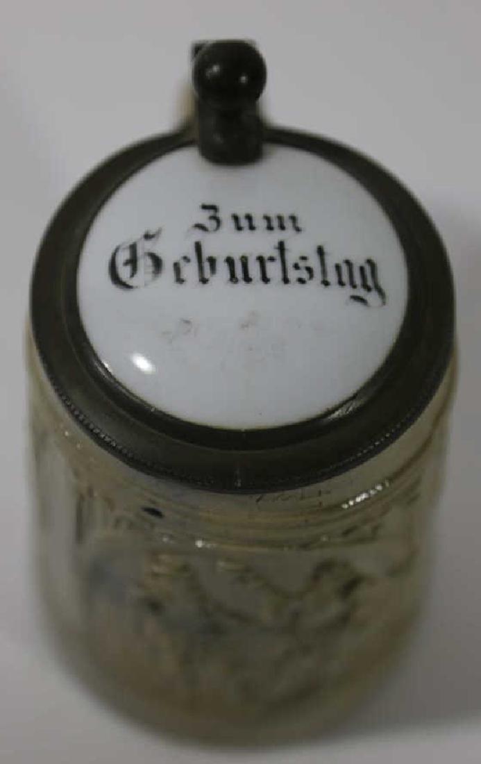 GERMAN ANTIQUE SALT GLAZE / PORCELAIN LID STEIN - 6