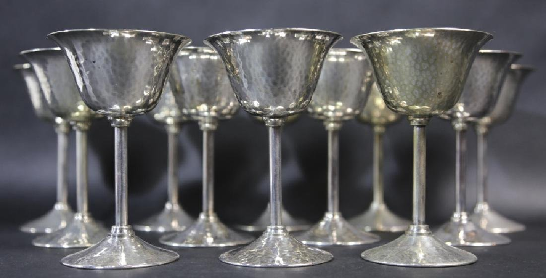 GORHAM HAND HAMMERED SILVER CORDIAL SET OF 12 - 4