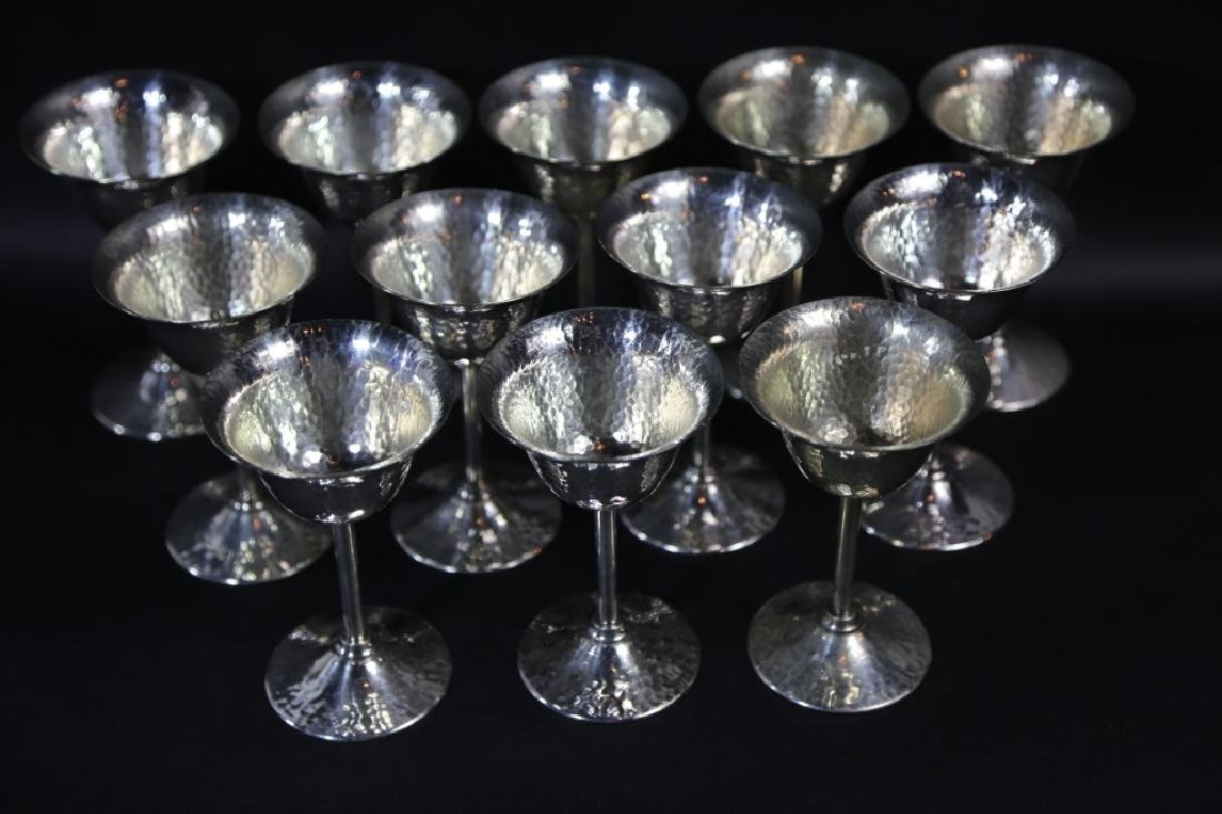 GORHAM HAND HAMMERED SILVER CORDIAL SET OF 12 - 6