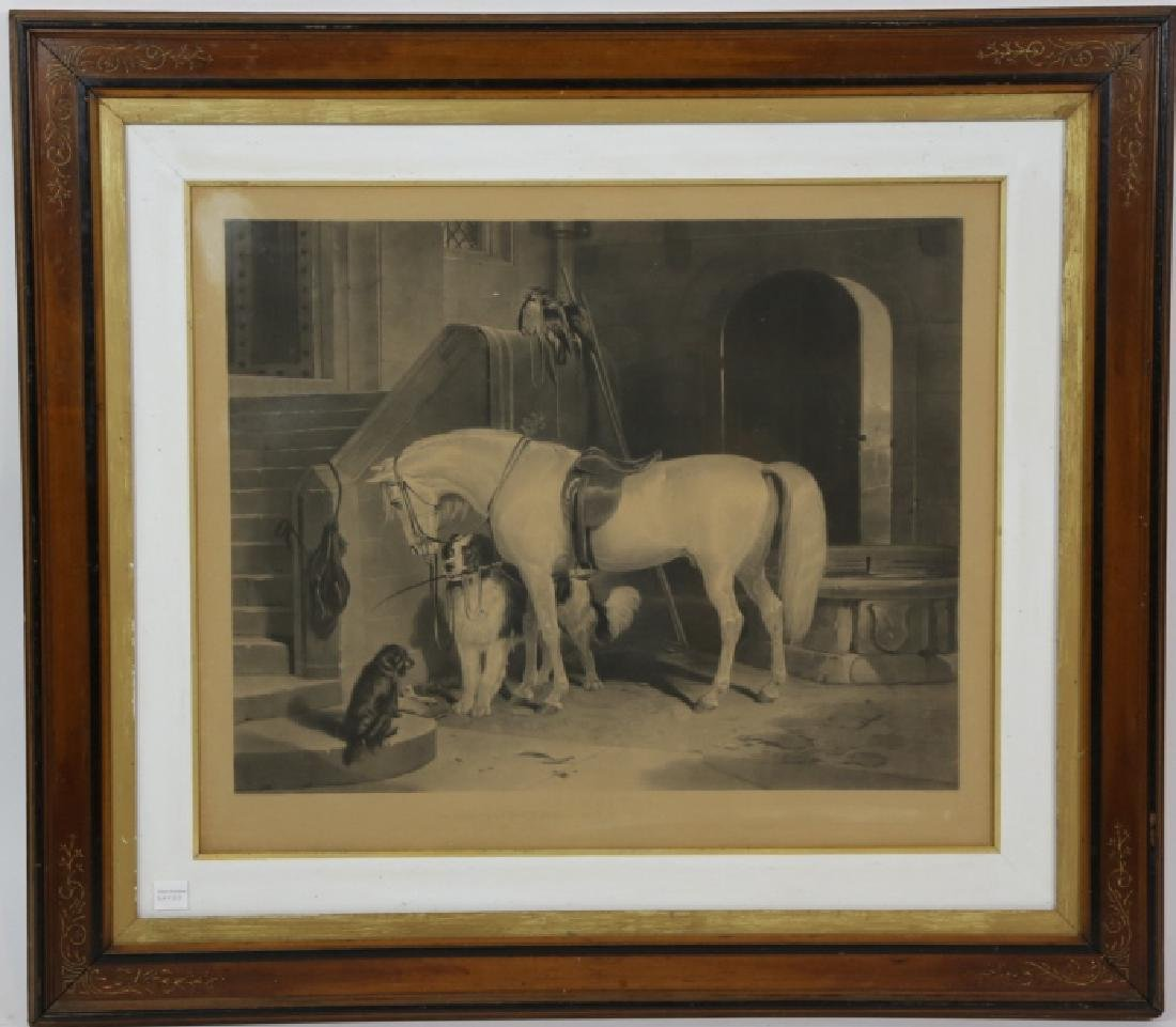 19TH C ENGRAVING OF HORSE AND DOGS - 2